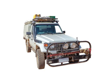 Toyota Landcruiser 4x4 vehicle off-road safari isolated on white background. Front view.