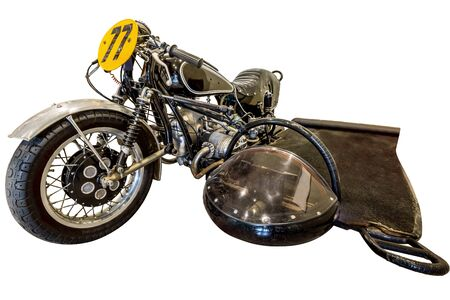 sidecar: Road Race Sidecar, old motorbike, isolated on white background.