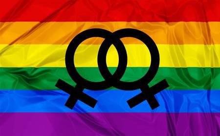 sexualidad: Ilustraci�n de la bandera del arco iris de colores y el s�mbolo de gay, relaci�n lesbiana, el amor o la sexualidad. Foto de archivo