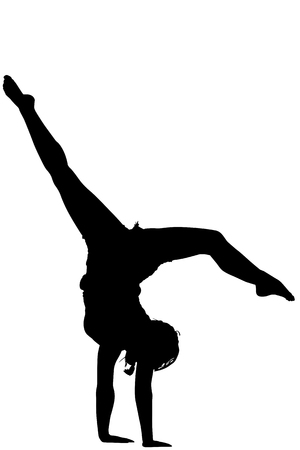 acrobatic: Acrobatic gymnast girl silhouette , black backlight on white background.