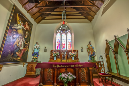 crucifixes: Closeup of the altar of the Interior of St John the Evangelists Church, Richmond, Tasmania, Australia. Richmond is a town about 25 km north-east of Hobart. Editorial