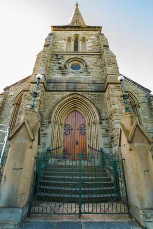 Frontal view of the Congregational Church, historic building in stone, Davey Street, Hobart, Tasmania, Australia.