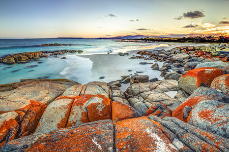 Drammatic landscape in The Gardens, Bay of Fires consevation Area ranging from Binalong Bay to Eddystone Point, east coast of Tasmania in Australia. .