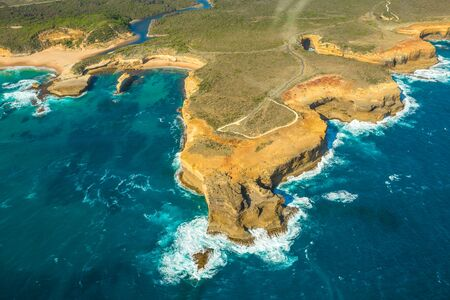 ard: Aerial view of Loch Ard Gorge on the Great Ocean Road in Victoria, Australia famous attraction of the Port Campbell National Park.