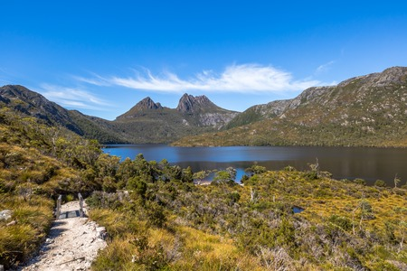 The walkway up to Cradle Mountain National Park, Tasmania, Australia. Lake Dove Circuit is a very popular trekking and one of the main attraction of the area.