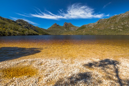 clair: Lake Dove Beach in Cradle Mountain and Lake St Clair National Park. Dove Lake is an ancient glacial lake in Cradle Mountain in Tasmania, Australia.
