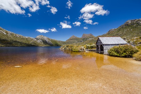 shores: The boatshed stands on the northwestern shores of Lake Dove, an ancient glacial lake near Cradle Mountain in Tasmania, Australia. It lies in the famous Cradle Mountain and Lake St Clair National Park.