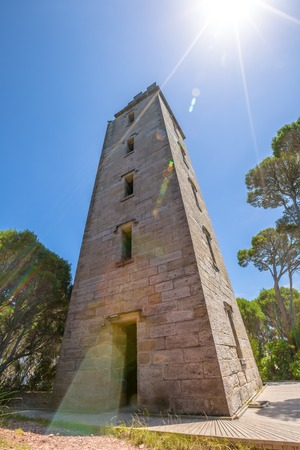 Boyds Tower in Ben Boyds NP. New South Wales, Australia.  Located at Red Point, on the southern headland of Twofold Bay. It was a lighthouse  and later used as a vantage point for whale spotters.