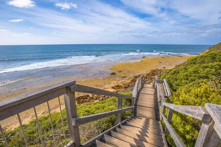 walkway: Walkway to the legendary Bells Beach - the beach of the cult film Point Break, near Torquay, gateway to the Surf Coast of Victoria, Australia, where starts the tourist and Great Ocean road.