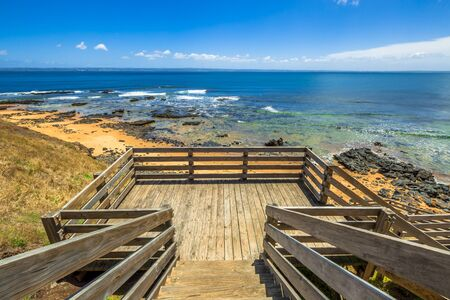 island: Lookout from the wooden walkway in Flynns Beach, Phillip Island, Victoria, Australia.