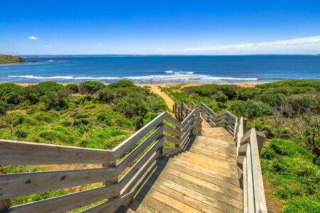 Wooden stairs to Ventnor beach, Phillip Island, Victoria Australia.