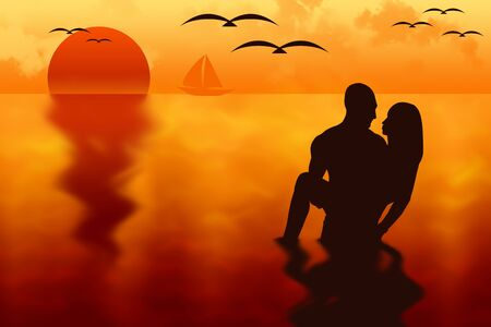 backlight: Backlight silhouette of a couple in love at sunset into the sea, with a sail boat and seagulls on . illustration.
