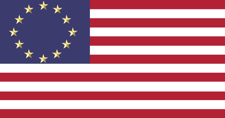 twinning: Europe and American flags united in a composition about twinning and co-operation, 2D flat version.
