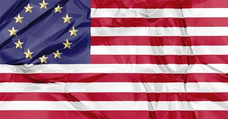 pacto: Europa y banderas estadounidenses unidos en una composición sobre la asociación y la cooperación, 3D agitando versión.
