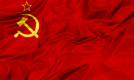 hammer and sickle: 3D illustration of Flag of the old Soviet Union, red star and hammer sickle, adopted from 12 November 1923 to 15 August 1980 in silk cloth