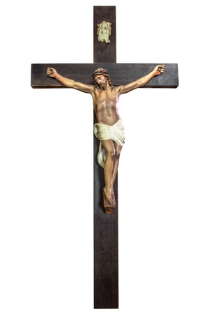 Cross of Jesus Christ isolated on white background. Easter concept. 스톡 콘텐츠