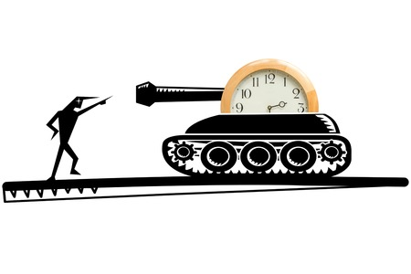 devilish: Illustration of tank with clock and devilish character pointing at the gun barrel,  concept of time to stop or start war, white background.  .