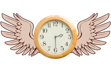 time flies: A round wooden clock with graphic wings as a metaphor for the concept that time flies. Life is short. Carpe diem. Time flies concept. Stock Photo