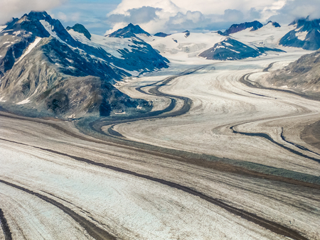 denali: View from the flight. Glacier in the mountains of Denali National Park, Alaska, America, USA. .