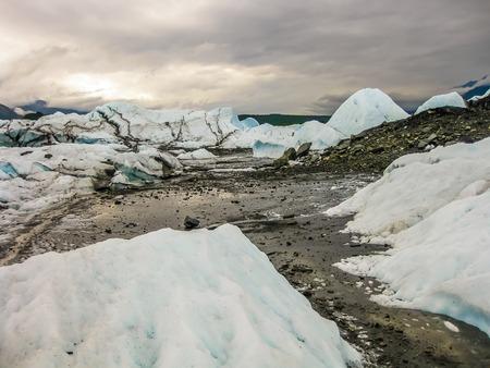 wintery snowy: Scenic view of the Matanuska Glacier in Alaska, U.S.A. Stock Photo
