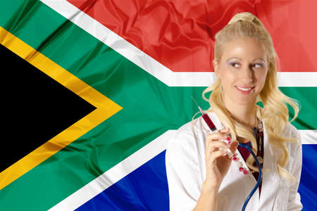 south african: South African Health Care concept with South Africa Flag and  woman doctor