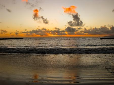 playa: Sunset cloudy in Playa de Las Americas, Tenerife, Canary, Spain. Stock Photo