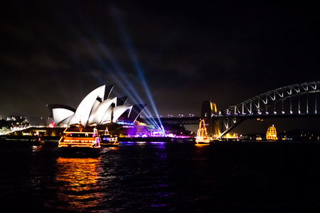 boat party: Opera House and Harbour Bridge during the midnight party of the new years eve 2015, shot from a boat. Editorial