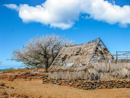 hause: A solitary and abandoned hut on the coast of the Big Island, Hawaii, United States. Stock Photo