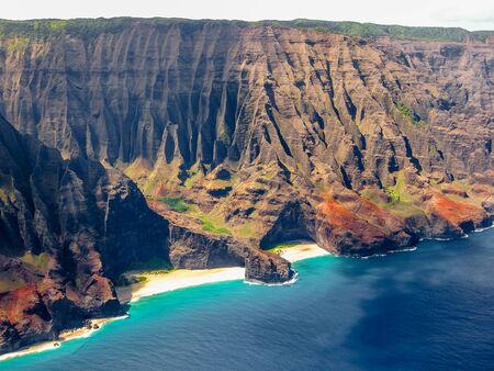 Aerial view of the spectacular Na Pali coast, Kauai, Hawaii, United States.