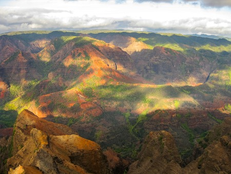 waimea canyon state park: Spectacular view from the viewpoint of the various colors of Waimea Canyon State Park at sunset in Kauai, Hawaii, USA.
