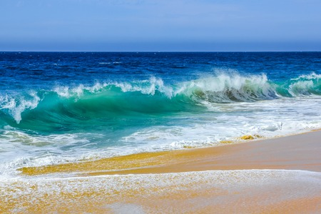 currents: High ocean waves on the famous beach of divorce in Cabo San Lucas, Baja California Sur, Mexico. Strong currents make the dangerous swim in these waters. Stock Photo