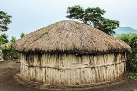 hause: Masai hause, boma at Arusha in Tanzania  Typical home of Masai people. made of wood and straw. Stock Photo