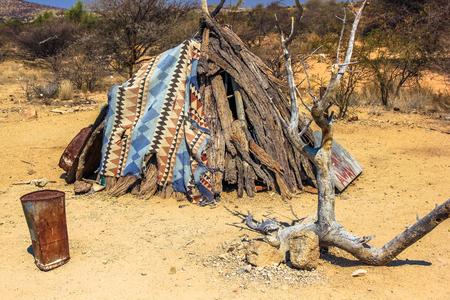 misery: Makeshift shelter waiting for better time in Namibia desert, Africa. Stock Photo