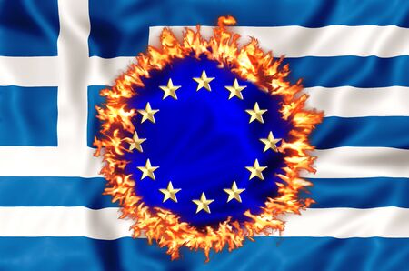 greek currency: Greek economy destroyed by Euro and European austerity politics. Financial concept for failure, debit, unique currency and financial bond