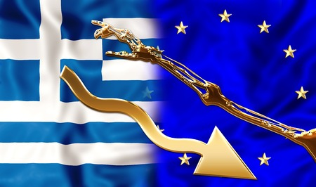 szantaż: Greece and Europe flags bonded together by a financial blackmail and hard conditions. Financial concept for debit blackmail and bond. Zdjęcie Seryjne