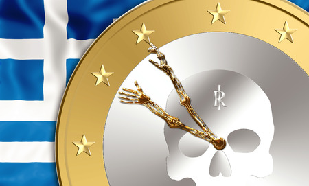 greek currency: Greek flag and an euro coin with skeleton arms as clock hands inside. Finance concept for exit from euro currency, debit, bankruptcy and saving time running out Stock Photo