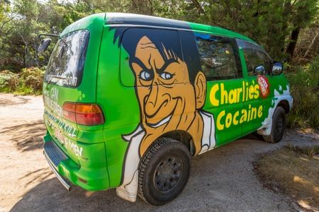 airbrushing: Sydney, Australia - January 9, 2015: Hippie van with Charlies Cocaine airbrushing hand made. Typical campers from Australian company: Wickedcampers.