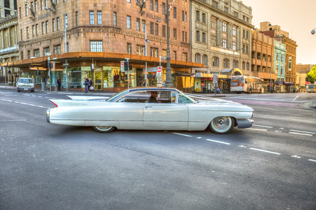 Hobart, Tasmania, Australia - January 16, 2015: A luxury vintage Classic Cadillac on the streets of historic Hobart Editorial