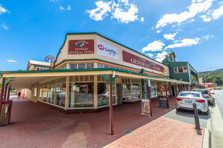 general store: Queenstown, Tasmania, Australia - January 10, 2015: General store in historic Queenstown, the largest town on Tasmanias west coast