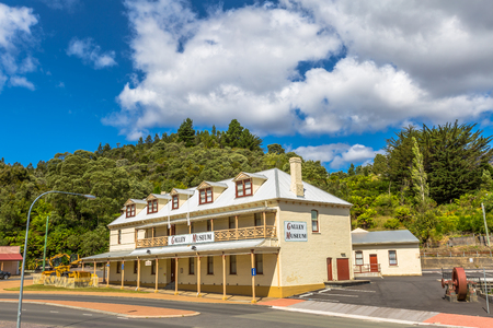 galley: Queenstown, Tasmania, Australia - January 10, 2015: Gallery Museum in historic Queenstown, the largest town on Tasmanias west coast. The Galley Museum was established by Eric Thomas.