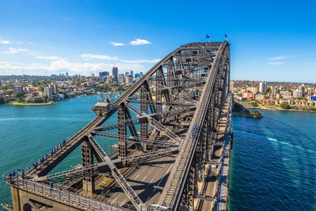 sydney: Sydney, Australia - December 29, 2014: Harbour Bridge, one of most  photographed landmarks. Its the worlds largest steel arch bridge with the top of the bridge standing 134 meters above harbor