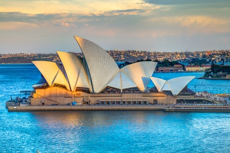 Sydney, New South Wales, Australia - December 29, 2014: Profile of Sydney Opera House at sunset seen from Sydney Harbour Bridge Editorial