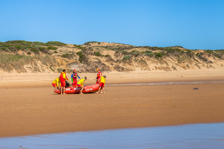 life saving: Phillip Island, Victoria, Australia - January 4, 2015: Baywatch prepare to go out to sea with the lifeboat in Woolamai Surf Life Saving Club, Cape Woolamai State Faunal Reserve Editorial