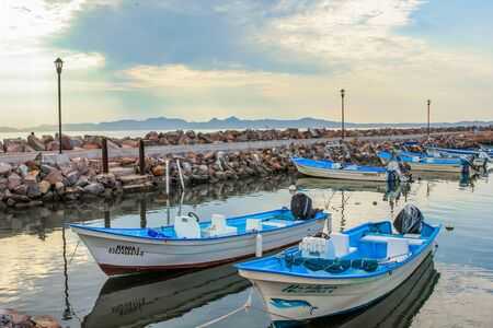 baja california: Loreto, Baja California Sur, Mexico - August 22, 2013: Boats docked at the port of Loreto