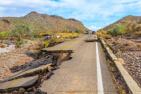 collapsed: Nopolo, Baja, Baja California Sur, Mexico - August 25, 2013: Collapsed highway linking La Paz to Loreto during the tropical storm named Juliette. Editorial