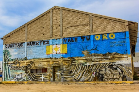 La Paz, Baja California Sur, Mexico - September 1, 2013: Graffiti in town by Adriana Velazoueznand Luis Martinez, to protest against the speculation and pollution against the locan enviroment