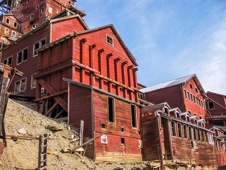 ghost town: Kennicott, Alaska, United States - August 4, 2009: the ghost town Kennicott is part of Wrangell St. Elias National Park. This abandoned copper mining camp is a National Historic Landmark District.