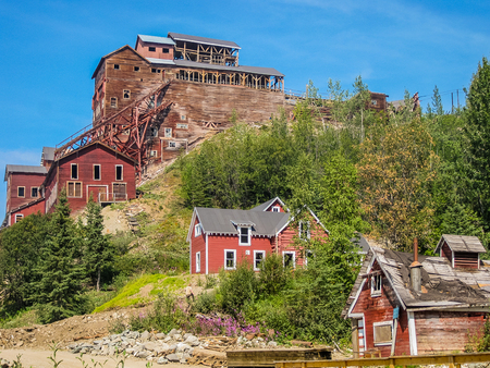 ghost town: Kennicott, Alaska, United States- August 4, 2009: Ghost town Kennicott, Wrangell-St. Elias National Park. This abandoned copper mining camp is a National Historic Landmark District.