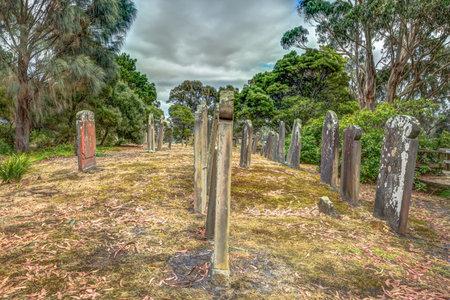 arthur: Old gravestones in the Isle of the Dead located in the harbor off Port Arthur, Tasman Peninsula, Tasmania, Australia Editorial