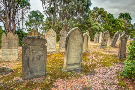 gravestones: Port Arthur, Tasmania, Australia - January 15, 2015: gravestones in the Isle of the Dead hystoric site, used as the graveyard for the penal settlement of Port Arthur  from 1833 to 1877